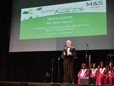 Host Mike Barry and DMU Gospel Choir